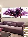 horloge de mur violet floral moderne dans la toile 3pcs