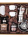 kaffe serien boxed gåva (Moka & sifon potten, kvarn, koppar) t-007