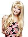 Capless longue ligne droite perruque blonde cheveux de haute qualite synthetique