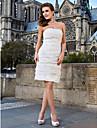 Lanting Bride® A tubino Petite / Taglie forti Abito da sposa - Moderno / Da ricevimento Vestitini bianchi Al ginocchio Senza spallineDi