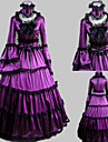 Long Sleeve Floor-length Purple Satin Aristocrat Lolita Dress