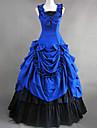 Vestido Lolita Gotica Epoca Victoriana Azul de Algodon Sin Mangas y Hasta el Suelo