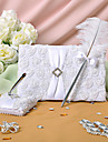 White Rose Guest Book and Feather Pen Set Sign In Book