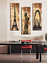 Stretched Canvas Print Vintage Architecture Eiffel Tower,Statue of Liberty and La Grande Roue Set of 3 1301-0215