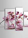 pinturas a oleo Conjunto de 4 modernas flores roxas abstratas em telas pintadas a mao agua pronta para pendurar