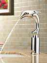 Contemporain Set de centre Valve en ceramique Mains libres un trou with Chrome Robinet lavabo