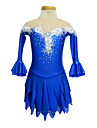 Dumb Light Spandex Elasticated Net Lace Flowers Strapless Figure Skating Clothing Royal Blue