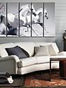 Klassisk vit häst väggklocka i canvas 5st