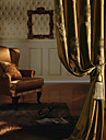 Two Panels European / Neoclassical Floral / Botanical Gold Bedroom Polyester Panel Curtains Drapes