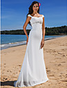 Lanting Bride Sheath/Column Petite / Plus Sizes Wedding Dress-Sweep/Brush Train Scoop Chiffon