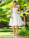 Lan Ting A-line/Princess Plus Sizes Wedding Dress - Ivory Knee-length Sweetheart Satin
