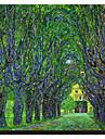 Estrada arborizada Levando para o Manor House at Kammer, Alta Austria, 1912 por Claude Monet famosa tela esticada