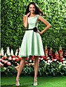 Lanting Bride Knee-length Chiffon Bridesmaid Dress A-line / Princess Square Plus Size / Petite withFlower(s) / Sash / Ribbon / Side