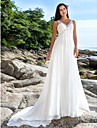 Lanting Bride® A-line Petite / Plus Sizes Wedding Dress - Chic & Modern Chapel Train V-neck Chiffon with Sequin / Beading