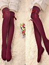 Wine Red Ribbon Bomull Classic Lolita Over Knee Socks