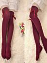 Chaussettes/Bas Lolita Classique/Traditionnelle Lacets Rouge Lolita Accessoires Bas Noeud papillon Pour Femme Coton