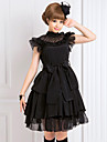 Turtleneck Sleeveless Knee-length Black Chiffon Gothic Lolita Dress