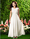 Ankle-length Chiffon Junior Bridesmaid Dress - Ivory Sheath/Column V-neck