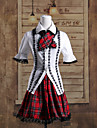 Puff Sleeve Blouse and Short Red Check Pattern Skirt Cotton School Lolita Outfit