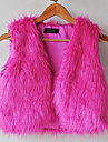 Fur Vest With Beautiful Collarless In Faux Fur Casual/Party Vest(More Colors)