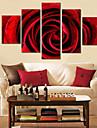 roșu florale ceas de perete de proiectare în pânză 5pcs