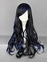 Zipper Black and Blue Blended 70cm Gothic Lolita lockig peruk