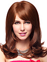 Capless 100% Human Hair Medium Wavy Brown Hair Wigs