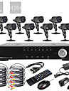 8CH D1 Real Time H.264 600TVL High Definition CCTV DVR Kit (8 Vandtæt Dag Nat CMOS-kameraer)