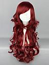 Perruques de lolita Doux Lolita Long Rouge Perruque Lolita  70 CM Perruques de Cosplay Couleur Pleine Perruque Pour Femme