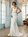 Lan Ting Trumpet/Mermaid Plus Sizes Wedding Dress - Ivory Sweep/Brush Train Halter Lace