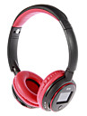MP3 FM On-ureche căști Bluetooth cu microfon, TF card slot, ecran LCD (rosu, negru)