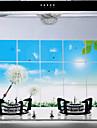 75x45cm pissenlit modele resistant a l\'huile impermeable a l\'eau sticker mural de cuisine