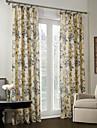 land två paneler blom- botaniska beige blå sängkläder / polyesterblandning mörkläggningsgardiner draperier