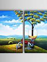 de hand geschilderde landschap olieverf met gestrekte frame - set van 2