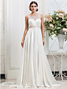 Lan Ting A-line/Princess Plus Sizes Wedding Dress - Ivory Sweep/Brush Train Scoop Charmeuse