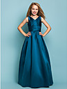 Lanting Bride® Floor-length Satin Junior Bridesmaid Dress A-line / Princess V-neck Natural with Sash / Ribbon / Criss Cross