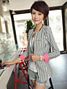 JANE FANS Fashion Long Sleeve Stripes Slim Suit Jacket(Random Pattern)