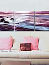 Sträckta kanvas Landskap Sea Wave Set av 3