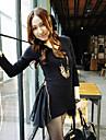 Mulheres Blusa Casual Simples / Moda de Rua Todas as Estacoes,Solido Preto Poliester Decote Quadrado Manga Longa Media