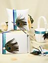 blauwe streep met pauwenveer witte bruiloft collectie set (4 stuks) pauw huwelijk