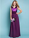 Floor-length Chiffon/Stretch Satin Junior Bridesmaid Dress - Grape Sheath/Column V-neck
