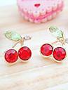Frauen japanische und koreanische Version suesse rote Kirsche Kristall Ohrringe E96