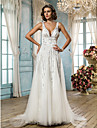 A-line/Princess Wedding Dress - Ivory Sweep/Brush Train Straps Satin/Tulle/Sequined/Lace