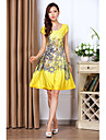 Women\'s Vintage / Casual Print A Line / Skater Dress , U Neck Above Knee Polyester