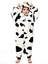 kigurumi Pyjamas Vache laitiere Collant/Combinaison Fete / Celebration Pyjamas Animale Halloween Noir/blanc Mosaique Flanelle Kigurumi