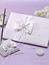 Guest Book / Pen Set Satin Garden ThemeWithRibbons / Faux Pearl