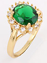 KU NIU Kvinnors Gold Plating Zircon 1cm ring J1667