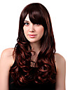 Capless longue synthetique de haute qualite Chatain Wavy Perruques Bang Side
