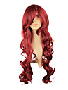 Capless Synthetic Wavy Long Burgundy Mix Red Curly Heat Resistant Ladies Wigs