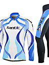 SANTIC-Men\'s Blue and White Long Sleeve Thermal Cycling Suit
